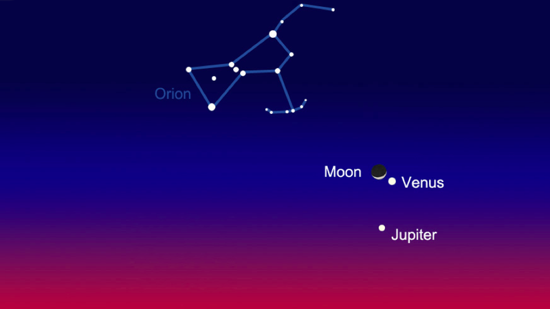 Jupiter, Venus, and the Moon Will Ménage à Trois Tonight