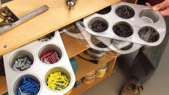 Make Handy Pull-Out Hardware Bins with Muffin Tins
