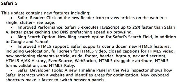 Safari 5 Update Rumored for WWDC, Extensions API Noticeably Absent
