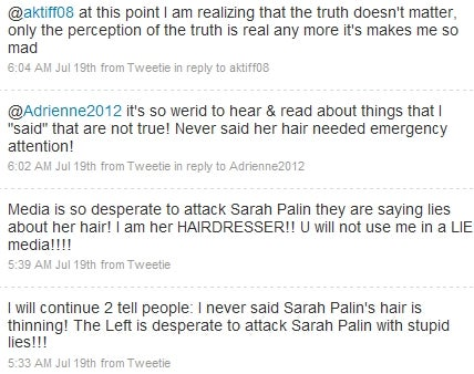 Palin's Hairdresser Fights Smear Planted by Palin's Hairdresser