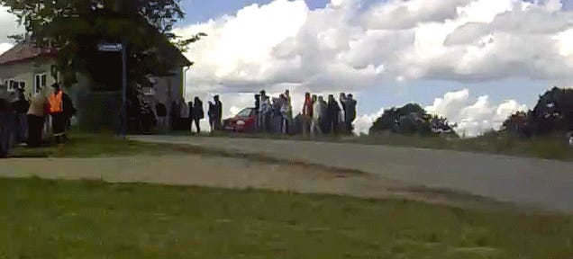 Idiot Rally Spectators Saved By A Pile Of Bricks