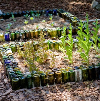 Reuse Wine Bottles As Garden Edging