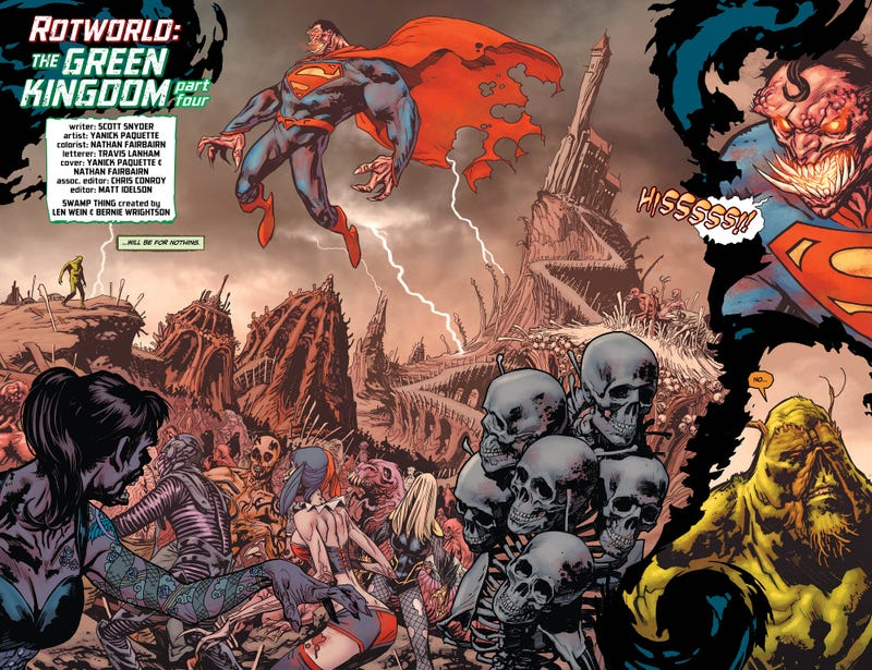 Your First Glimpse of the Nightmarish Fates of Superman and Batman, in Swamp Thing #16!