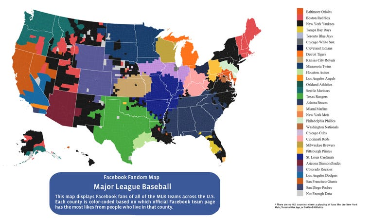 Facebook Data Provide The Most Accurate MLB Fandom Map Ever Created