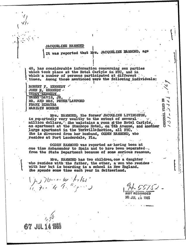 FBI's Kennedy Sex Party Memo: Did JFK, Teddy, and Marilyn Monroe Have an Orgy?