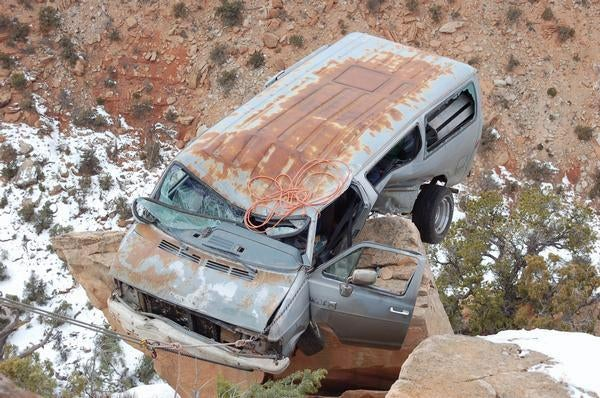 Spectacular Suicide Attempt In Dodge Van Foiled By Pesky Cliff
