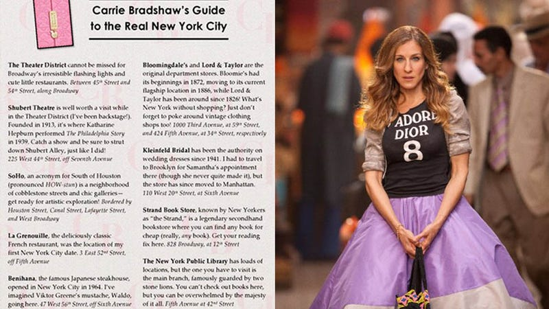 """Finally, A Guide To Carrie Bradshaw's """"Real New York"""""""