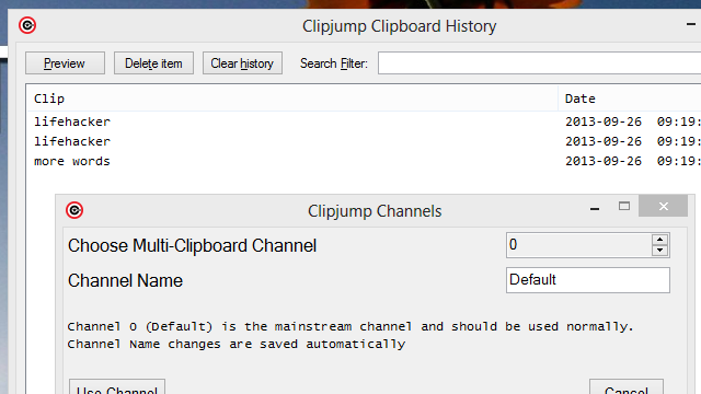 Clipjump Manages Multiple Channels of Clipboard History