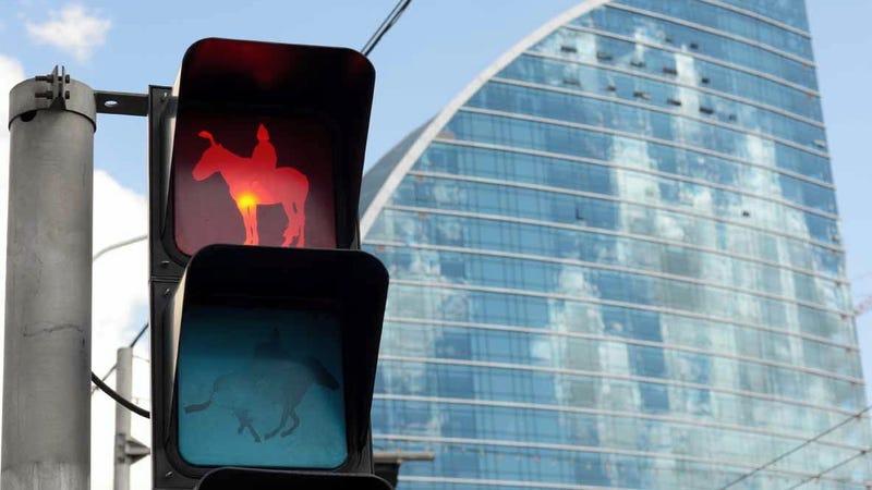 Mongolian Traffic Lights Direct Horses, Not Cars