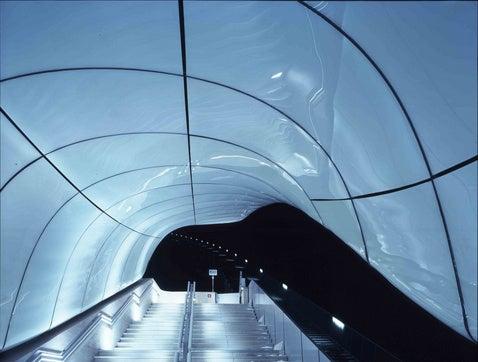 Space-Age Igloo Train Station at Ski Resort