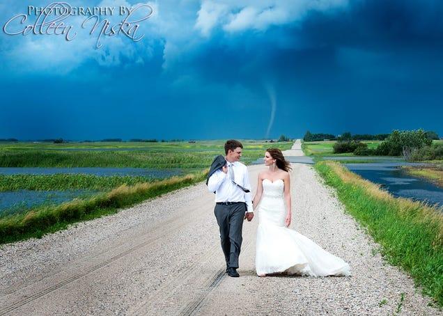 Tornado Backdrop Gives Couple the Most Badass Wedding Photos Ever