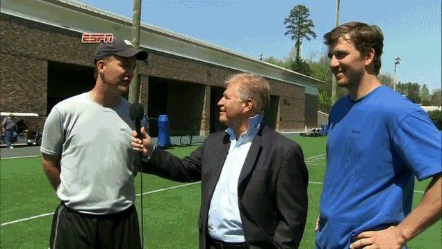 Watch Eli Manning Caress Chris Mortensen's Head