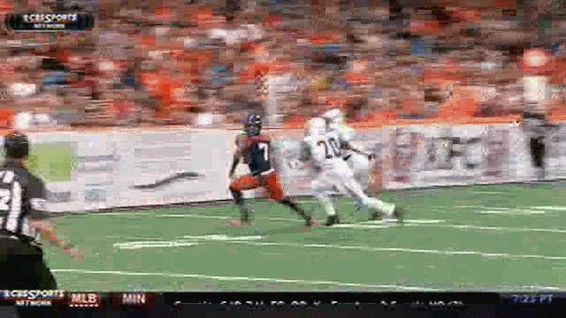 Arena Football Fan Leans Out Over Field, Gets Absolutely Wrecked
