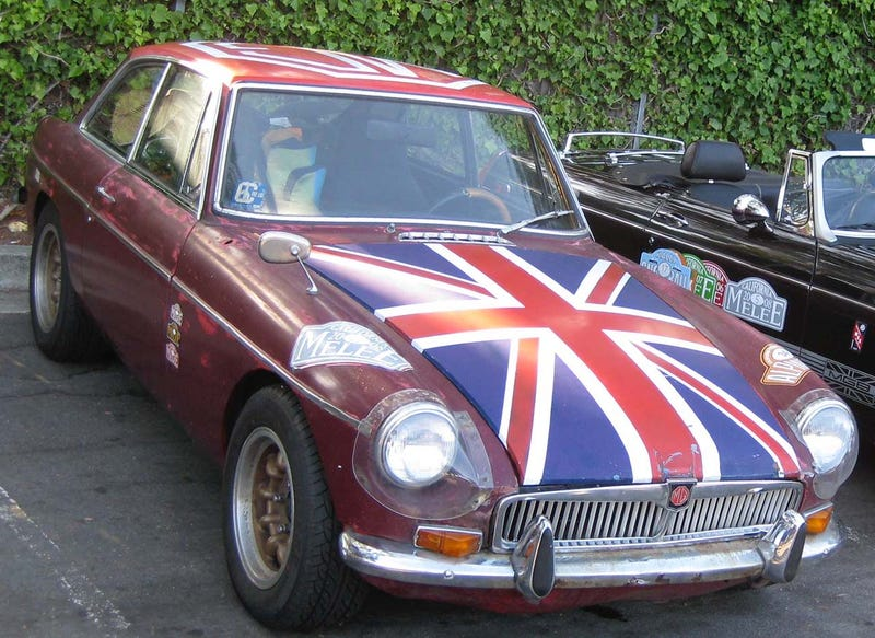 Olde English 800-Fueled Driver Obliterates Union Jack-Adorned MGB-GT, We Struggle To Find Meaning
