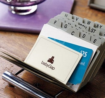 Repurpose a Business Card Organizer to Store Gift and Loyalty Cards