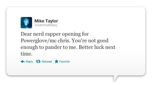 Geek Rap Star Kicks Fan Out Of Concert Over Tweet [Update]