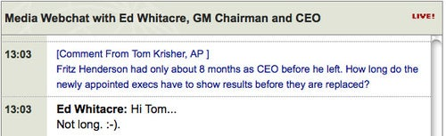 GM Chairman Ed Whitacre Threatens Execs With Emoticon