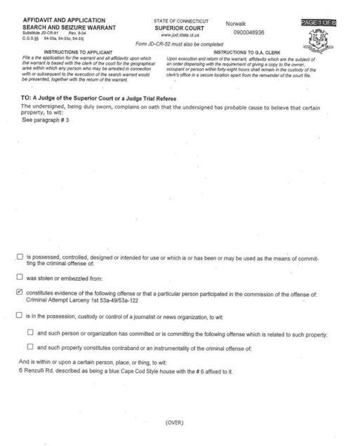 Search Warrant for Joe Halderman's House