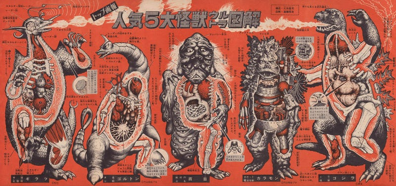 Cool drawings show the anatomy of Godzilla and all his friends and foes