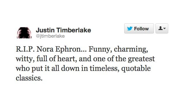 Twitter Says Goodbye to Nora Ephron