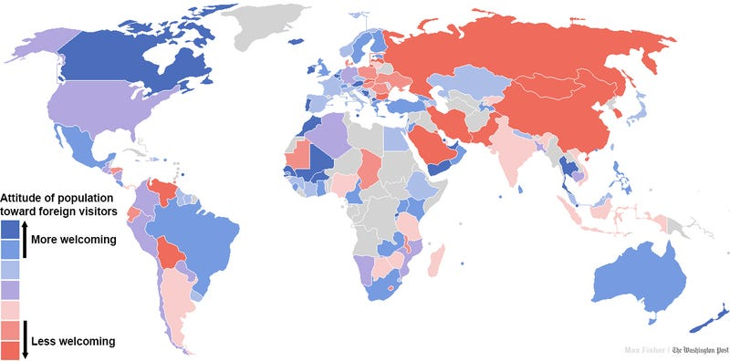 Countries ranked by non-xenophobia?