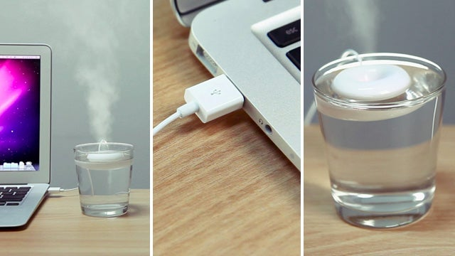 Tiny Floating Donut Turns a Glass Of Water Into a Humidifier