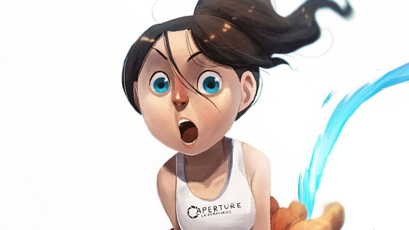 Not Sure If This Cartoon Chell Is Cute Or Crazy