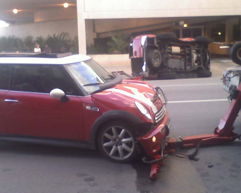 Chevy Tahoe Messes With Texas Mini Cooper, Pays Price