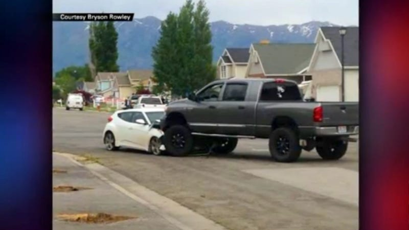 Kid Races Grampa's Car Through A Busy Park 'Til Vigilante Truck Rams Him