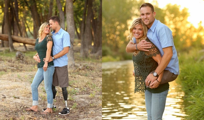 Photo of Legless Marine Being Carried on Wife's Back Goes Viral