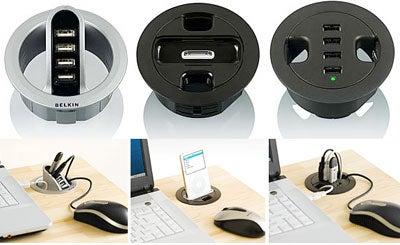 Belkin Grommet-Hole USB Hubs, iPod Dock: Genius!