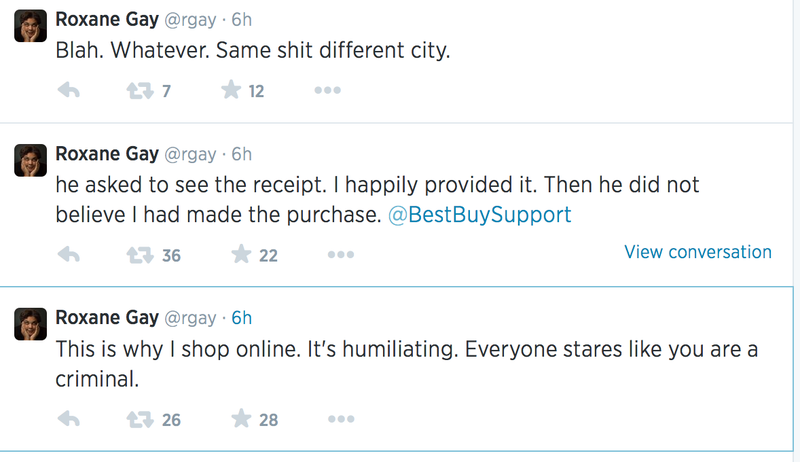 Roxane Gay gets harassed for making a purchase