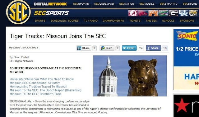 Mizzou Will Join The SEC On Monday, According To SEC's Premature, Accidental Announcement
