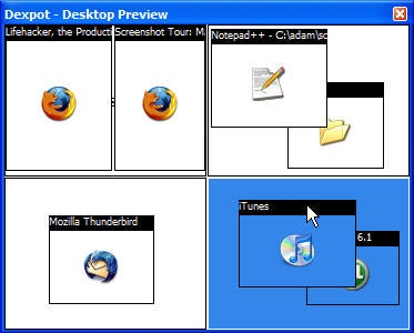 Screenshot Tour: Manage and organize your virtual desktop with Dexpot