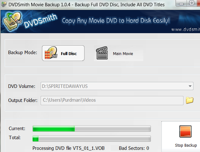 DVDSmith Movie Backup Copies Whole Discs or Just the Main Movie