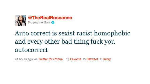 Roseanne Tells Autocorrect to Fuck Off