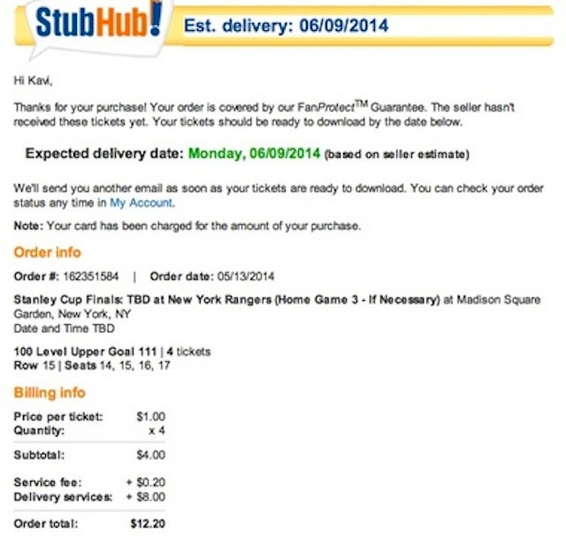 Guy Buys $1 Stanley Cup Tickets; StubHub Takes Them Away