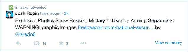 """Senator """"Duped"""" Into Using Old Photos to Promote New War With Russia"""