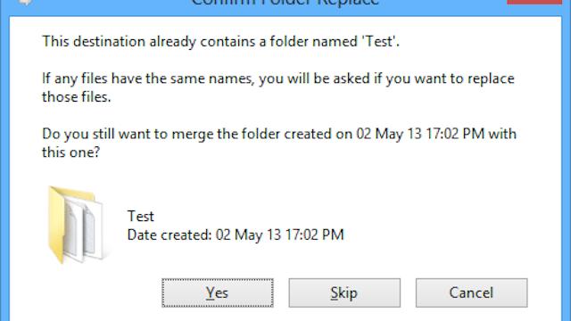 Bring Back the Merge Folder Dialog in Windows 8