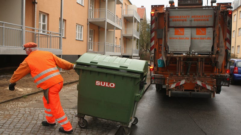 Garbage Men Throw Out A Motorcycle Because They Think It's A Couch