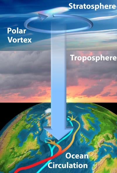 The winds of the stratosphere reshape deep ocean currents