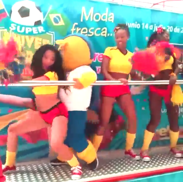 World Cup Mascot Fuleco The Armadillo Grinds With Girls On Stage