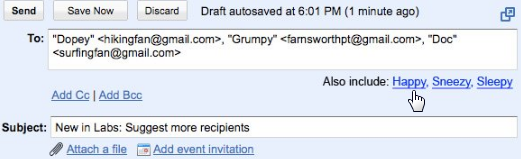 Gmail Adds Suggested Recipients