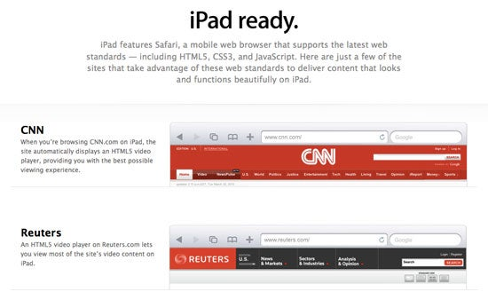 Apple's War On Flash Continues with its iPad Ready Website List