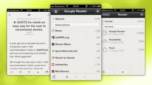 Reeder for iPhone Updated with More Reader Options, Multiple Account Support, and Gestures