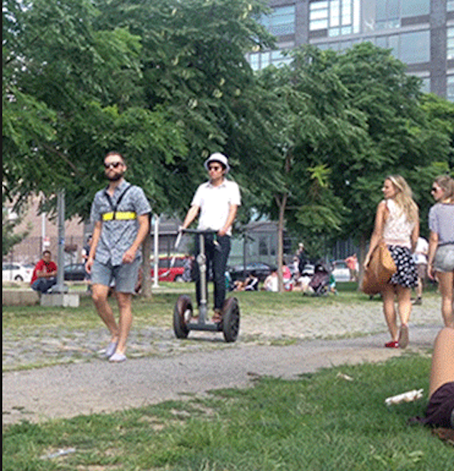 Hipster on Leash Walked By Man on Segway in Williamsburg