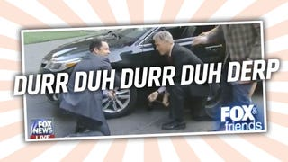<i>Fox & Friends </i>Hosts Attempt To Change Tire, Step On Own Genitals