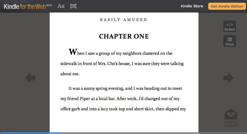 Kindle for Web Puts Books In Your Browser, Beautifully