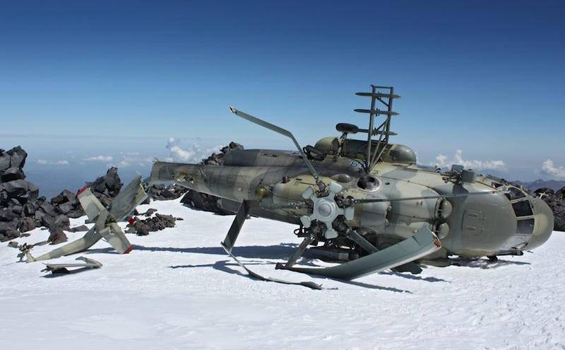 Crashed Russian Army Helicopter Stranded Atop Mountain Forever?