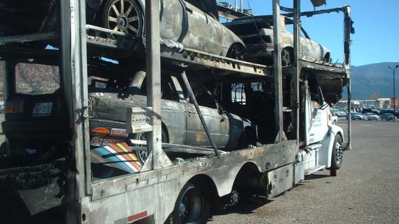 A Transport Fire Turned A V8-Powered E30 And RS4 Avant Into A Worthless Slag Heap